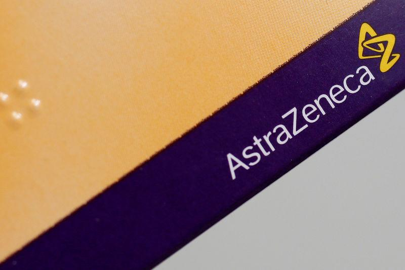 FILE PHOTO: The logo of AstraZeneca is seen on a medication package in a pharmacy in London