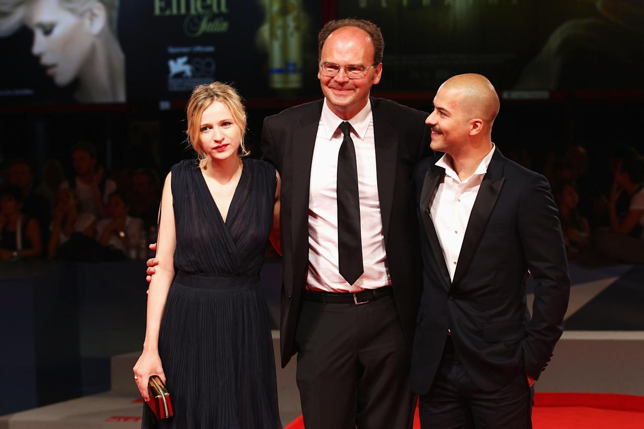 """VENICE, ITALY - SEPTEMBER 08: (L-R) Actress Christa Theret, director Jean-Pierre Ameris and actor Marc-Andre Grondin attend the """"L'Homme Qui Rit"""" Premiere during the 69th Venice Film Festival at the Palazzo del Cinema on September 8, 2012 in Venice, Italy.  (Photo by Vittorio Zunino/Getty Images)"""