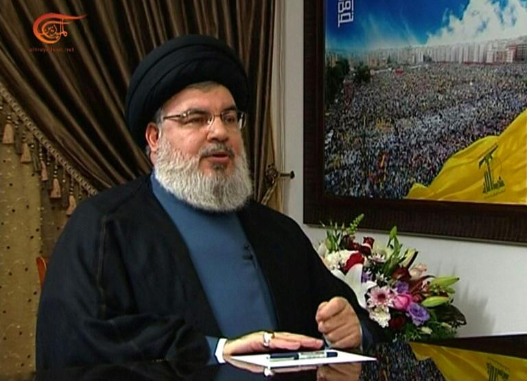 Hezbollah, whose leader Hassan Nasrallah is pictured here during a recent television interview, is one of the dominant forces in Lebanese politics