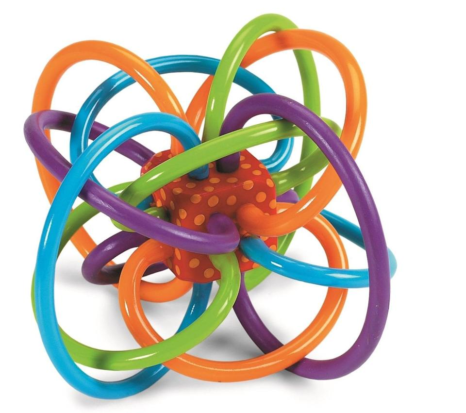 <p>This <span>Manhattan Toy Winkel Rattle and Sensory Teether Toy</span> ($10) is a baby gift classic that your little one will love playing with.</p>