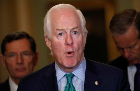 FILE PHOTO: Senator John Cornyn speaks to the media during a news conference at the U.S. Capitol in Washington, U.S., May 22, 2018. REUTERS/Leah Millis