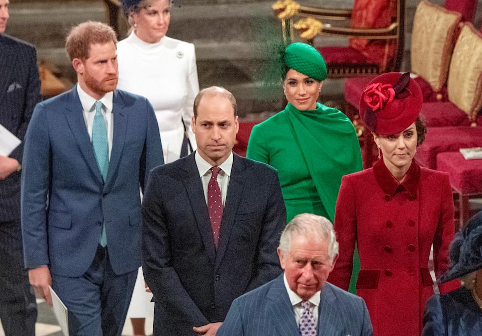 Britain's Prince Charles, Prince William and Catherine, Duchess of Cambridge, Prince Harry and Meghan, Duchess of Sussex attend the annual Commonwealth Service at Westminster Abbey in London, Britain March 9, 2020. Phil Harris/Pool via REUTERS