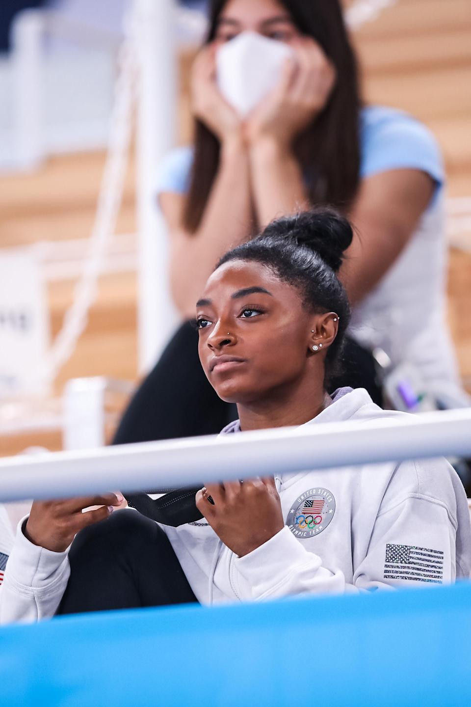 Simone Biles in the stands at the Olympics