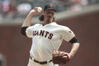 San Francisco Giants starting pitcher Jeff Samardzija throws in the first inning of a baseball game against the Philadelphia Phillies at Oracle Park in San Francisco, Saturday, Aug. 10, 2019. (AP Photo/Scot Tucker)