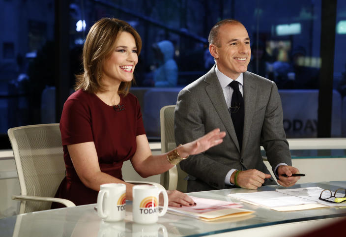 "Guthrie and Lauer during a February 2013 broadcast of the ""Today"" show. (Photo: Peter Kramer/NBC via AP)"