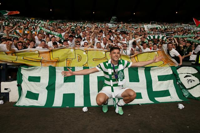 Soccer Football - Scottish Cup Final - Celtic vs Motherwell - Hampden Park, Glasgow, Britain - May 19, 2018 Celtic's Kieran Tierney celebrates in front of their fans after winning the Scottish Cup Action Images via Reuters/Jason Cairnduff