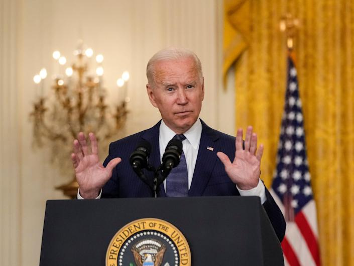 WASHINGTON, DC - AUGUST 26: U.S. President Joe Biden speaks about the situation in Afghanistan in the East Room of the White House on August 26, 2021 in Washington, DC. At least 12 American service members were killed on Thursday by suicide bomb attacks near the Hamid Karzai International Airport in Kabul, Afghanistan.