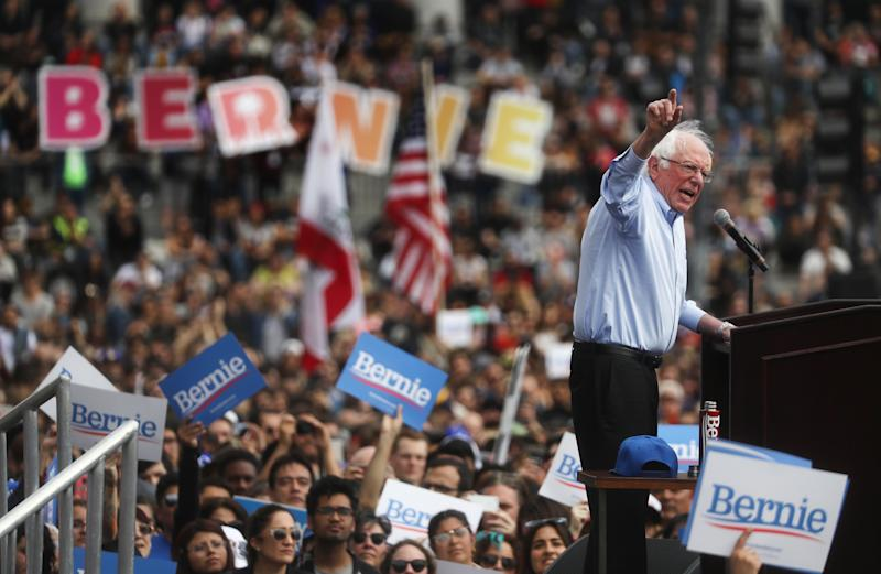 Bernie Sanders speaks at a campaign rally in Grand Park in Los Angeles, California. | Mario Tama—Getty Images