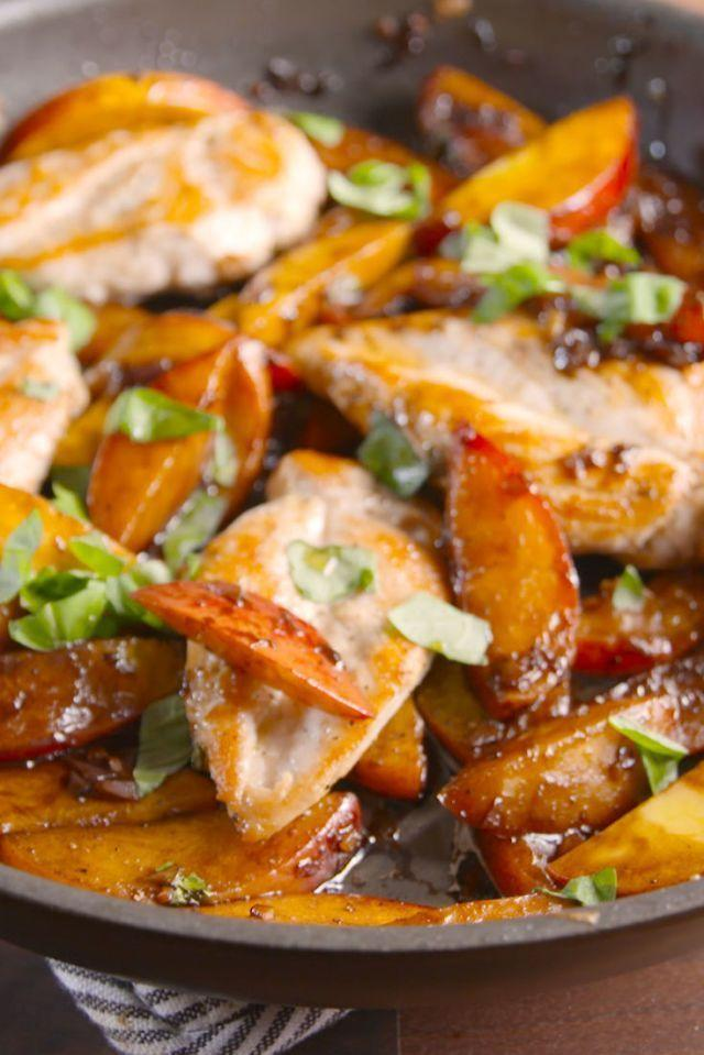 "<p>All you need is peaches to summer-ise your favourite weeknight dinner.</p><p>Get the <a href=""https://www.delish.com/uk/cooking/recipes/a35053141/peach-balsamic-chicken-recipe/"" rel=""nofollow noopener"" target=""_blank"" data-ylk=""slk:Peach Balsamic Chicken"" class=""link rapid-noclick-resp"">Peach Balsamic Chicken</a> recipe. </p>"