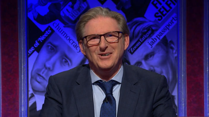 Adrian Dunbar presented 'Have I Got News For You' on 16 April, 2021. (Credit: BBC)