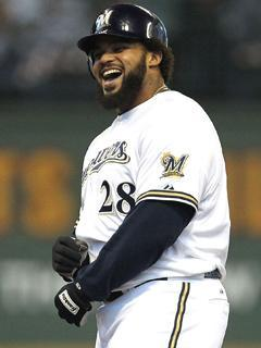 Prince Fielder, pictured here during an NLDS game in Milwaukee, could reap huge financial rewards just for laying low during the winter meetings
