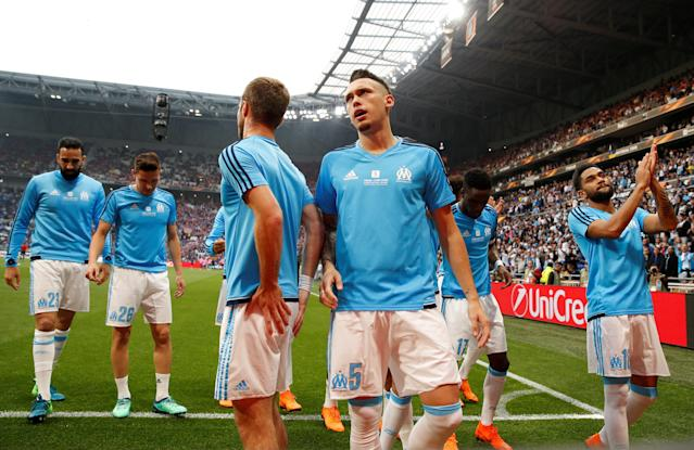 Soccer Football - Europa League Final - Olympique de Marseille vs Atletico Madrid - Groupama Stadium, Lyon, France - May 16, 2018 Marseille's Lucas Ocampos and team mates during the warm up before the match REUTERS/John Sibley