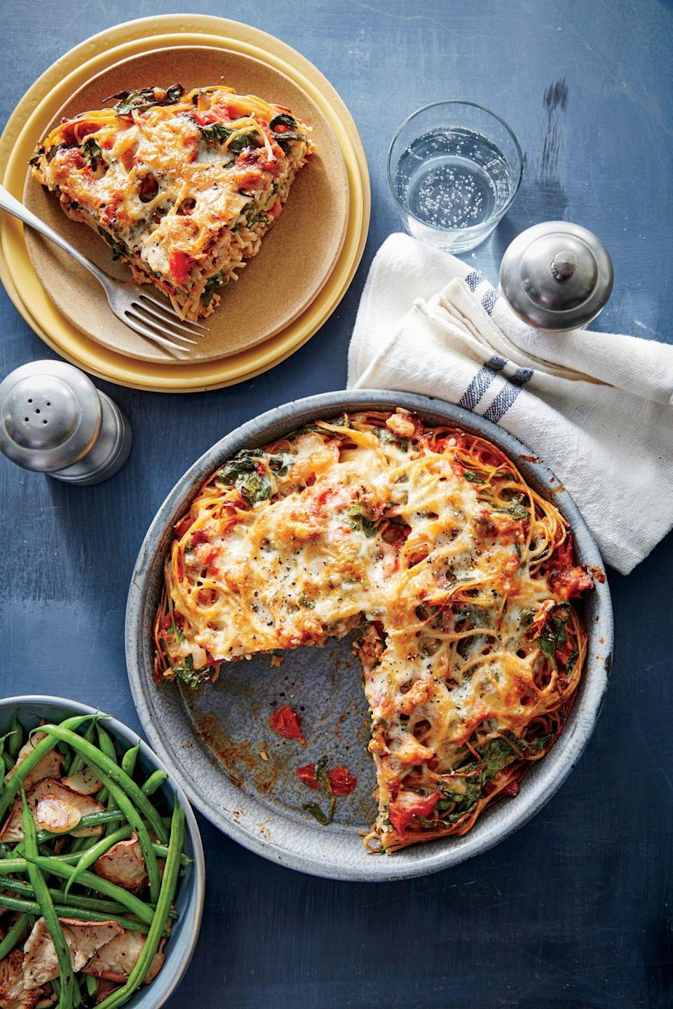 """<p>We love <a href=""""https://www.myrecipes.com/t/vegetables/mushrooms/shiitake-mushrooms"""" rel=""""nofollow noopener"""" target=""""_blank"""" data-ylk=""""slk:meaty shiitakes"""" class=""""link rapid-noclick-resp"""">meaty shiitakes</a> here, but any mushroom will work. Crisping the garlic adds great texture to the finished dish.</p>"""