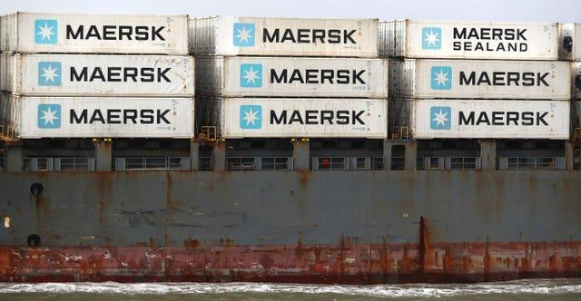 Maersk containers onboard a ship