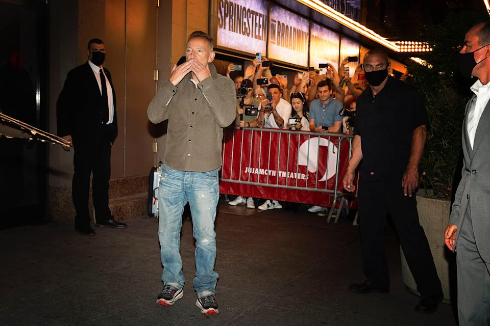 Bruce Springsteen outside the St. James Theatre on June 26, 2021 after a performance of 'Springsteen on Broadway.'