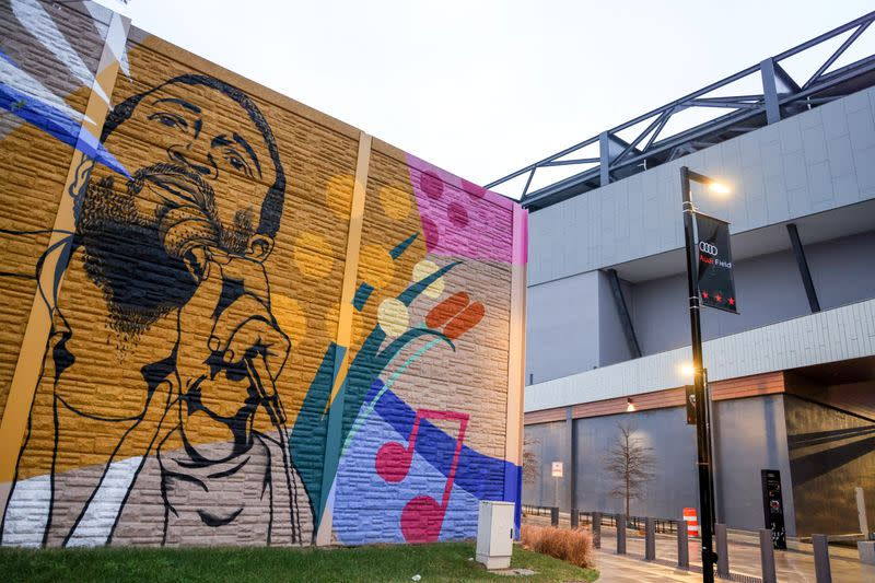 A mural featuring late singer Gaye decorates a wall next to the new MLS soccer stadium near the home Woody and her grandson share in Washington