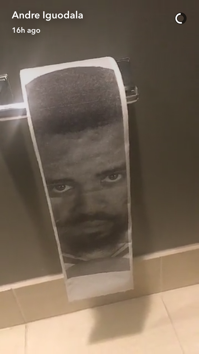 JaVale McGee's face saw a side of Andre Iguodala he'd never known before in that bathroom stall. (Snapchat)