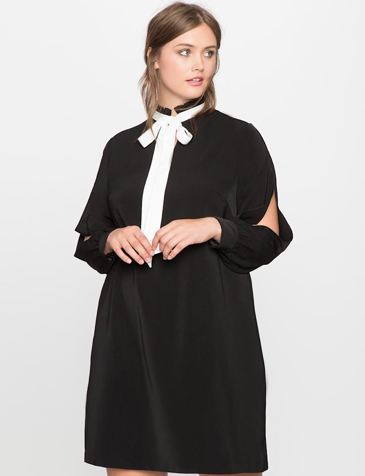 "Eloquii Tie Neck Split-Sleeve Dress, $110.90; at <a rel=""nofollow"" href=""http://www.eloquii.com/tie-neck-split-sleeve-dress/1243089.html"" rel="""">Eloquii</a>"