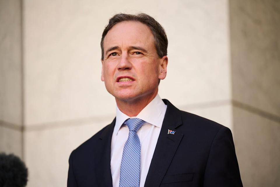 Australian Health Minister Greg Hunt discusses the Government's plan to 'live with the virus' during a press conference at Parliament House.