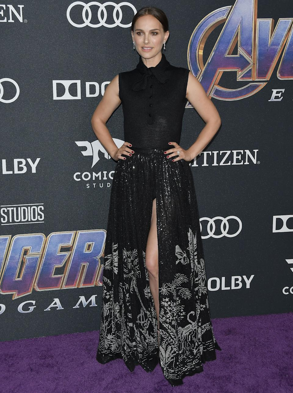 Former Marvel star Natalie Portman wore a full-skirted Dior look on the red carpet. [Photo: PA]