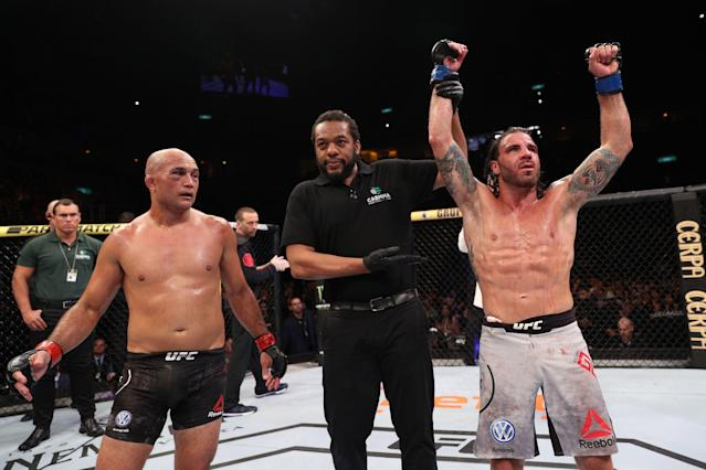 BJ Penn (L) set a new UFC record on Saturday with a seventh consecutive loss. (Getty Images)