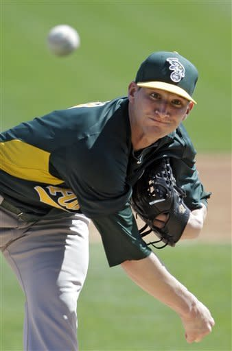 Oakland Athletics starting pitcher Jarrod Parker delivers against the Chicago White Sox in the first inning of an exhibition spring training baseball game on Saturday, March 16, 2013, in Glendale, Ariz. (AP Photo/Mark Duncan)