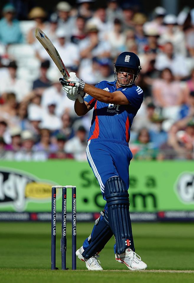 NOTTINGHAM, ENGLAND - SEPTEMBER 05:  Alastair Cook of England hits out to the boundary during the 5th NatWest Series ODI match England and South Africa at Trent Bridge on September 5, 2012 in Nottingham, England.  (Photo by Laurence Griffiths/Getty Images)