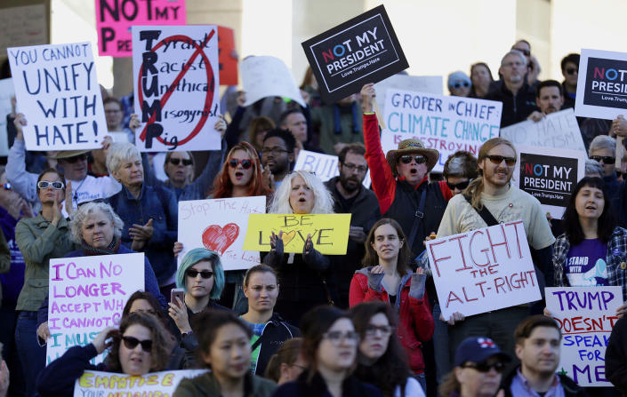<p>Protesters hold signs as they prepare to march in opposition to the election of President-elect Donald Trump on Sunday, Nov. 13, 2016, in St. Louis. (AP Photo/Jeff Roberson) </p>