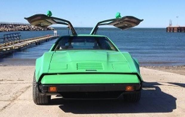 This neon green 1975 model Bricklin is one of the few remaining vehicles of its kind still on the road.