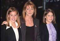 <p>In their slightly awkward teen years, the girls smile with their mom at the premiere of <em>Harry Potter. </em></p>