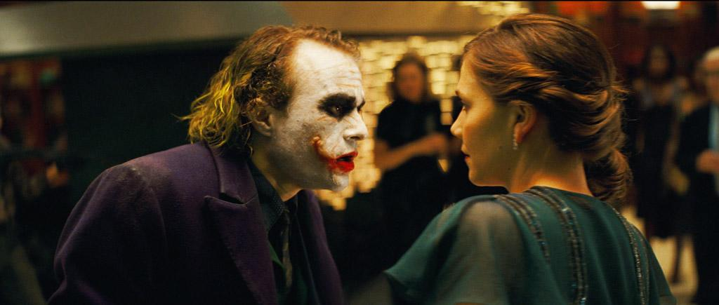 """<a href=""""http://movies.yahoo.com/movie/contributor/1800018553"""">Heath Ledger</a> as The Joker and <a href=""""http://movies.yahoo.com/movie/contributor/1800360995"""">Maggie Gyllenhaal</a> as Rachel Dawes in Warner Bros. Pictures' <a href=""""http://movies.yahoo.com/movie/1809271891/info"""">The Dark Knight</a> - 2008"""