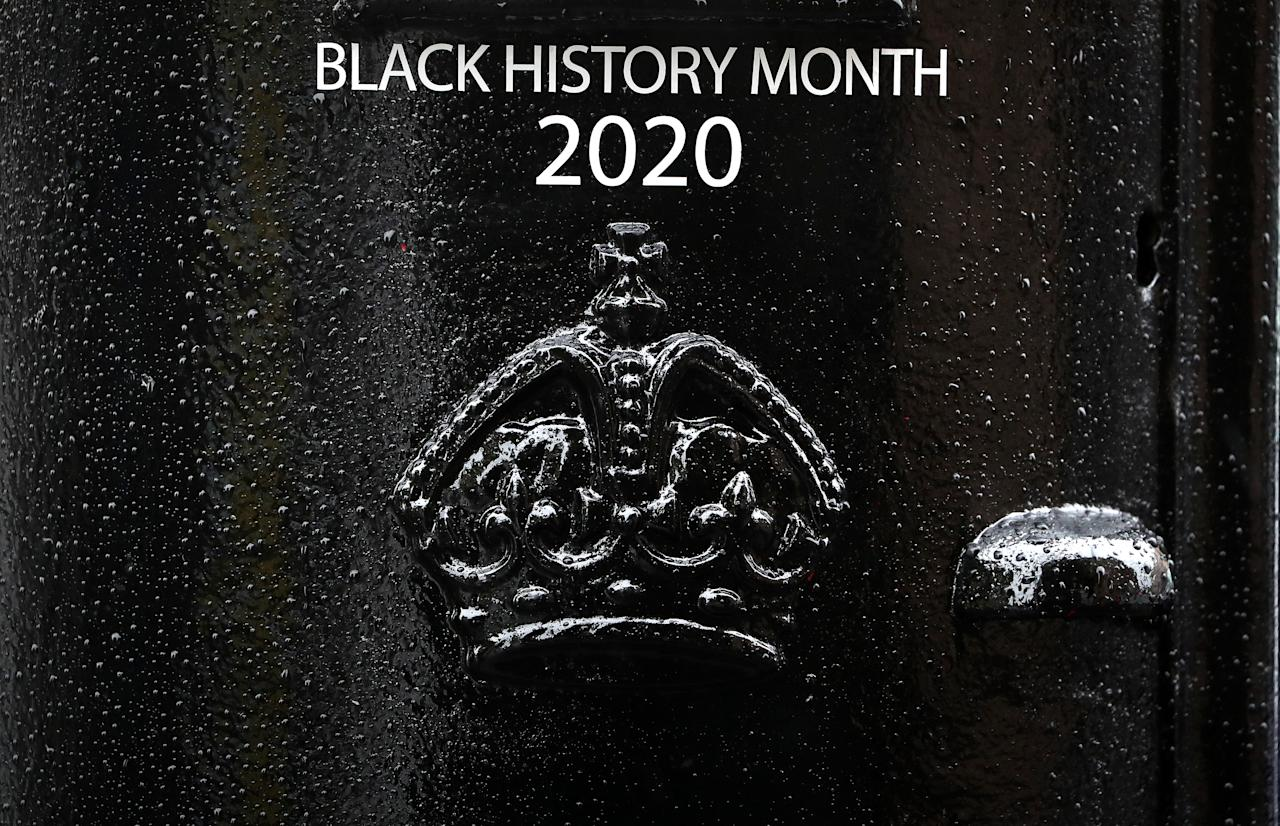 Detail on the front of a black postbox featuring an image of Second Lieutenant Walter Tull, on Byres Road, Glasgow, one of four special edition postboxes unveiled by Royal Mail to mark Black History Month. (Photo by Andrew Milligan/PA Images via Getty Images)