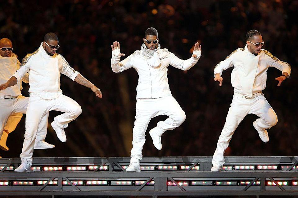 <p>Usher helped close the show in an all-white ensemble.</p>