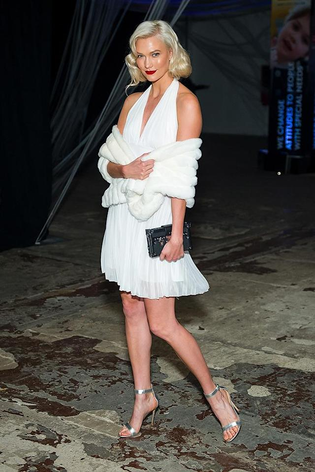 <p>The model (and friend of Taylor Swift) went as another blond celeb: the iconic Marilyn Monroe. (Photo: Michael Stewart/FilmMagic) </p>