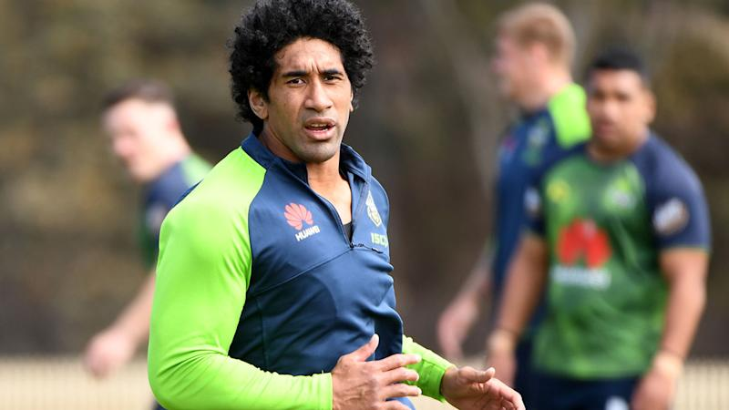 Sia Soliola, pictured here in action at a Canberra Raiders training session.