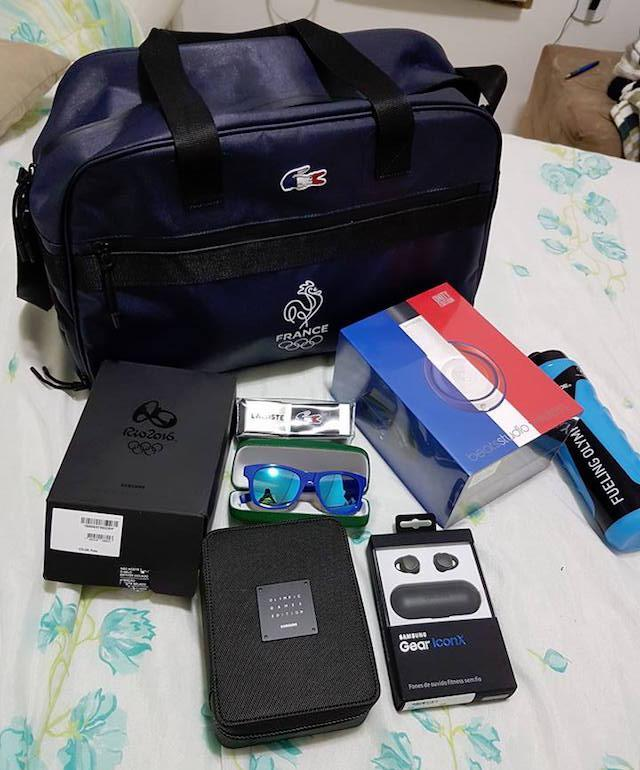 Team France hooked Vitor Galvani up with all sorts of Olympic swag. (Facebook)