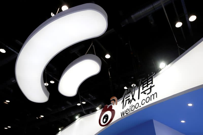 FILE PHOTO: Sina Weibo's booth is pictured at the GMIC in Beijing