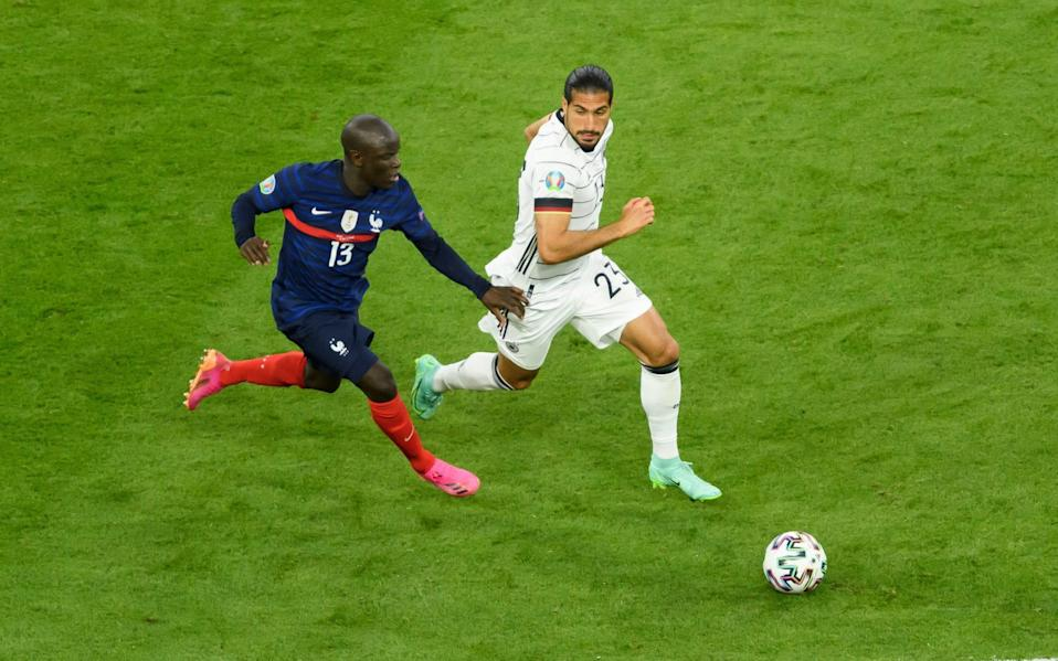 N'Golo Kante races past Germany's Emre Can - GETTY IMAGES