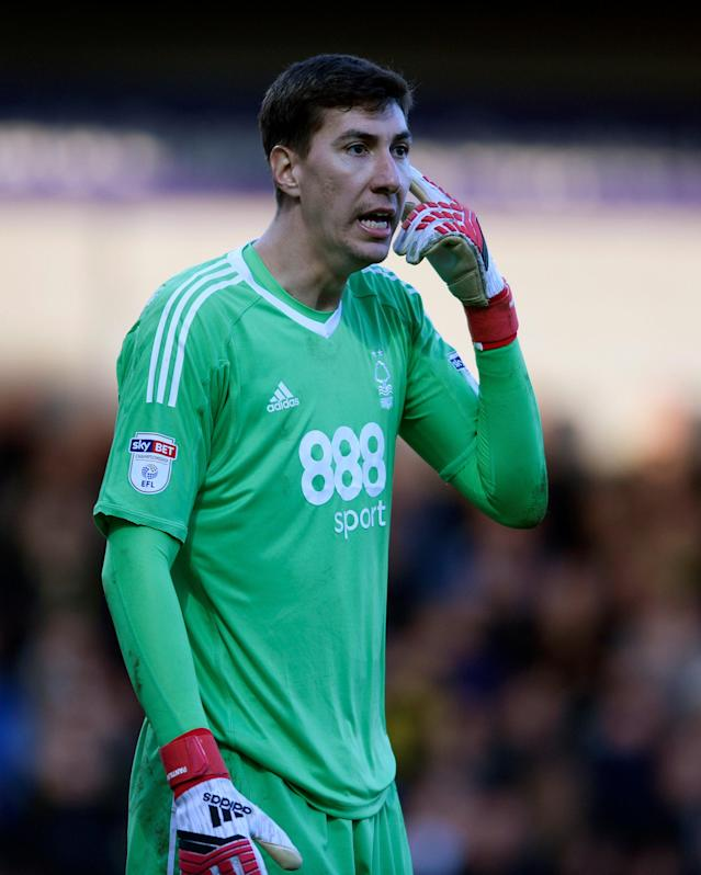 "Soccer Football - Championship - Burton Albion vs Nottingham Forest - Pirelli Stadium, Burton-on-Trent, Britain - February 17, 2018 Nottingham Forest's Costel Pantilimon gestures Action Images/Alan Walter EDITORIAL USE ONLY. No use with unauthorized audio, video, data, fixture lists, club/league logos or ""live"" services. Online in-match use limited to 75 images, no video emulation. No use in betting, games or single club/league/player publications. Please contact your account representative for further details."