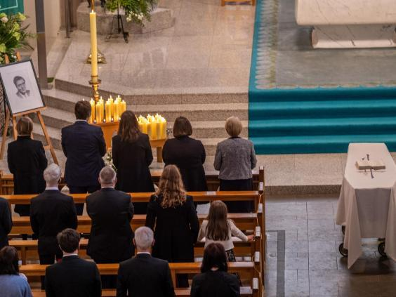 The funeral of John Hume at St Eugene's Cathedral in Londonderry (Stephen Latimer/PA)