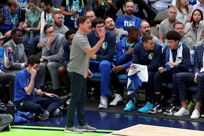"""<div class=""""inline-image__caption""""><p>Team owner Mark Cuban of the Dallas Mavericks reacts angrily to a call as the Mavericks take on the Portland Trail Blazers in the fourth quarter at American Airlines Center on January 17, 2020, in Dallas, Texas. </p></div> <div class=""""inline-image__credit"""">Tom Pennington/Getty</div>"""