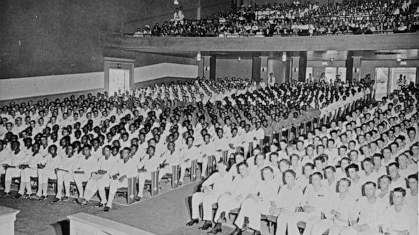 PHOTO: A racially segregated audience sits for a concert at the Naval Training Station in Great Lakes, Ill., July 16, 1943. (U.S. Navy)