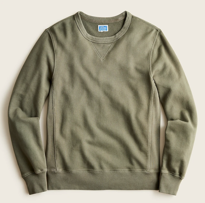 """<p><strong>J.Crew</strong></p><p>jcrew.com</p><p><strong>$69.50</strong></p><p><a href=""""https://go.redirectingat.com?id=74968X1596630&url=https%3A%2F%2Fwww.jcrew.com%2Fp%2FAD306&sref=https%3A%2F%2Fwww.esquire.com%2Fstyle%2Fmens-fashion%2Fg33956308%2Fbest-crew-neck-sweatshirts-men%2F"""" rel=""""nofollow noopener"""" target=""""_blank"""" data-ylk=""""slk:Shop Now"""" class=""""link rapid-noclick-resp"""">Shop Now</a></p><p>Garment-dyed to perfection and designed to fade softly with wear. </p>"""