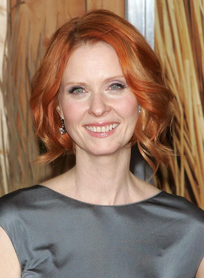 """Can you imagine the fab four of """"Sex and the City"""" without a redhead? Neither can we! In the role of tough attorney-turned-working mom Miranda Hobbes, actress Cynthia Nixon's bright hair perfectly complements her pale, porcelain skin. Jim Spellman/<a href=""""http://www.wireimage.com"""" target=""""new"""">WireImage.com</a> - November 1, 2010"""