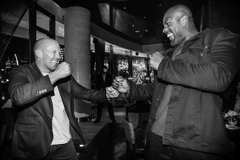 <p>Judoka Teddy Riner was all smiles meeting Jason Statham in Doha, Qatar.</p>