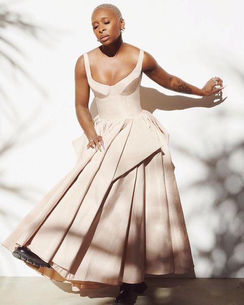 """<p>Cynthia Erivo turned to regular stylist Jason Bolden once again for the evening, who dressed her in a structural Alexander McQueen corseted gown, accessorised with stompy boots and Forevermark jewellery. <br></p><p><a href=""""https://www.instagram.com/p/CNQoWaoBFim/?utm_source=ig_embed&utm_campaign=loading"""" rel=""""nofollow noopener"""" target=""""_blank"""" data-ylk=""""slk:See the original post on Instagram"""" class=""""link rapid-noclick-resp"""">See the original post on Instagram</a></p>"""