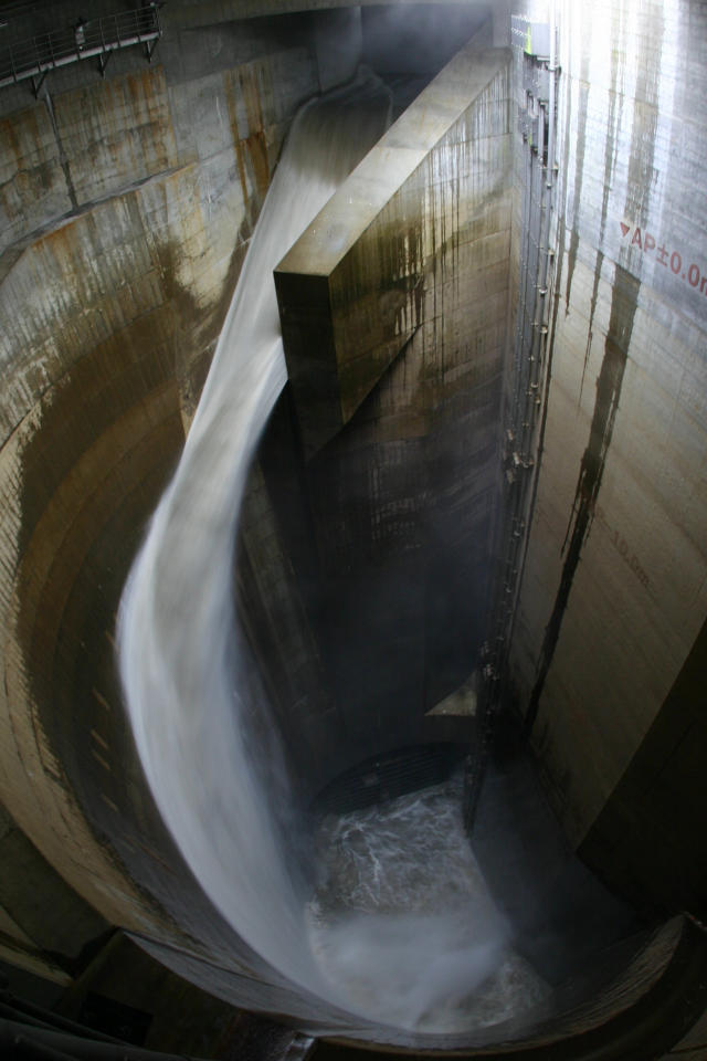 Overflow water caused by a heavy rain flows into a water tank at the  Metropolitan Area Outer Underground Discharge Channel in Kusakabe, north  of Tokyo.<br><br>(Photo: REUTERS/Ministry of  Land, Infrastructure, Transport and Tourism-Edogawa River Office/Handout)