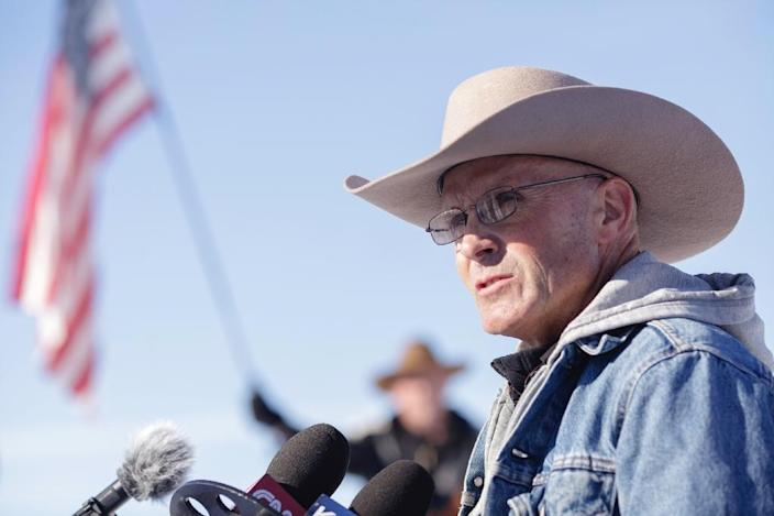 "Ammon Bundy paid tribute to the member of his group who was killed, who was not formally identified, as his ""beloved friend"" Robert ""LaVoy"" Finicum, pictured (AFP Photo/Rob Kerr)"