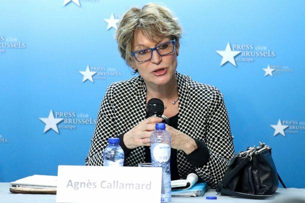 PHOTO: The United Nations Special Rapporteur on extrajudicial, summary or arbitrary executions, Agnes Callamard, Dec. 3, 2019 in Brussels, regarding the UN investigation into the unlawful death of Mr. Jamal Khashoggi. (Aris Oikonomou/AFP via Getty Images)