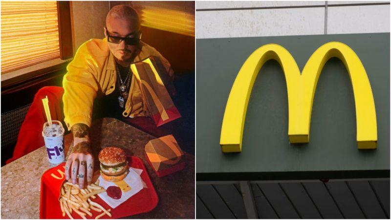 Left: J Balvin posing with his signature McDonald's meal. Right: McDonald's logo